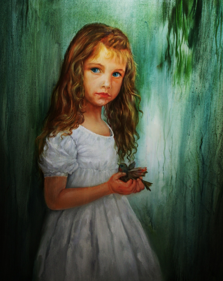 16-Girl with a bird,oil on canvas,100x75cm