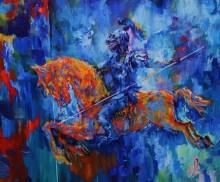 18-Blue Rider,oil on canvas, 92x75cm