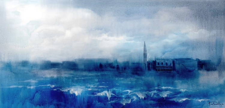 6-Venice from the sea, oil on canvas, 153x77cm