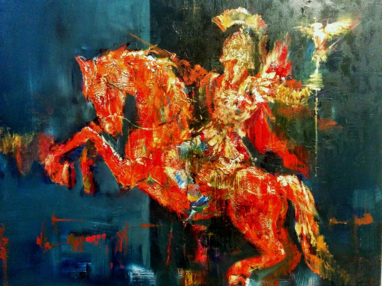 The rider, oil painting on canvas, 102x75cm, 2016,